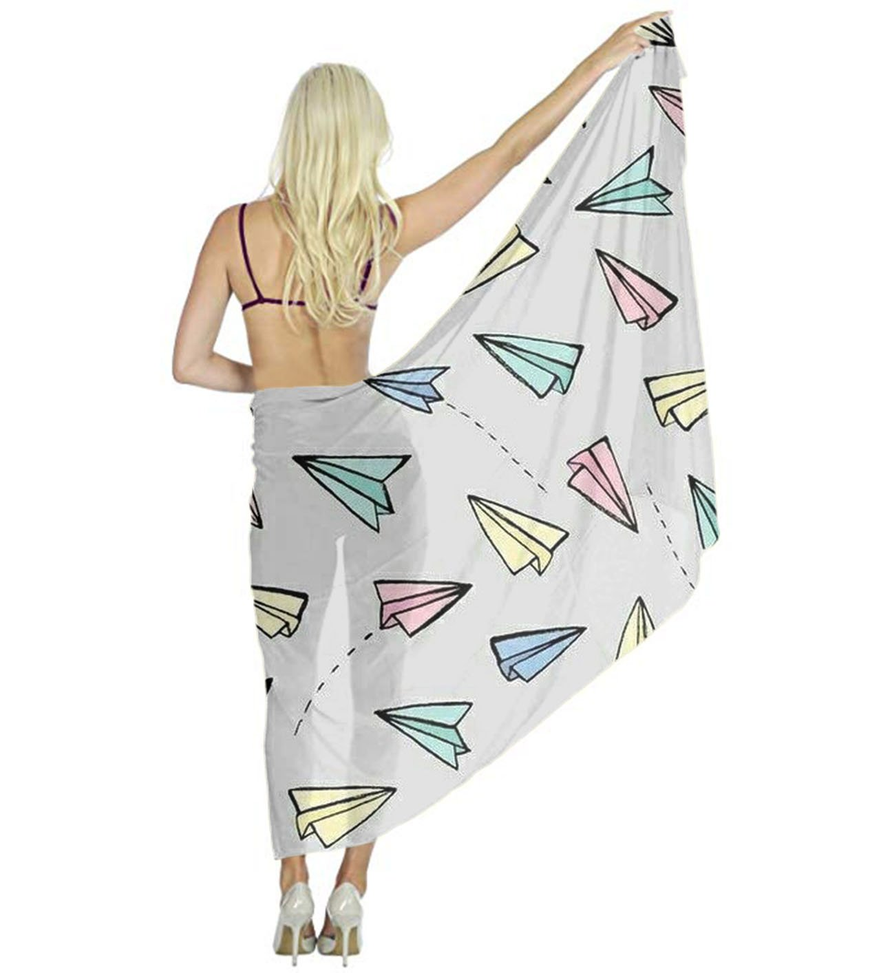 AMERICAN TANG Swimwear Chiffon Printed Cover up Beach Sarong Wrap - Flying Paper Airplanes Silk Scarf - Bikini Swimsuit Wrap Pareo Dress - Perfect gift for woman