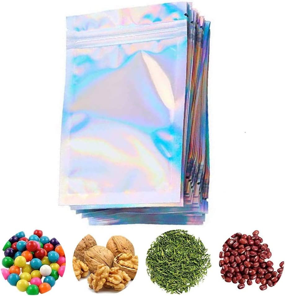 100 Pieces Resealable Smell Proof Bags Foil Zip Lock Bags, with Hanging Hole Aluminum Foil Bags Double-Sided Metallic Foil/Mylar Zip Lock Bags for Food Storage