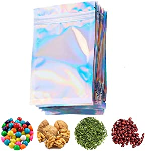 100 Pieces Resealable Smell Proof Bags, Foil Zip lock Bags Double-Sided Metallic Foil/Mylar Zip lock Bags Food Storage Bags Hanging Storage Pouch for Storage (Without Hanging Hole, 4 x 6 Inch)