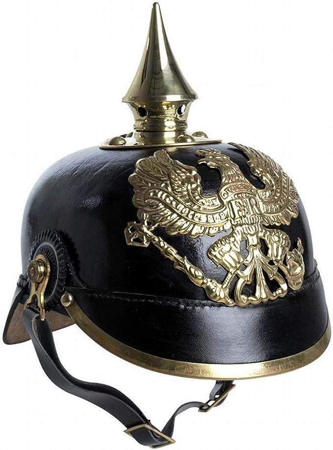 de la Premi/ère Guerre mondiale avec mentonni/ère en laiton prussien Casque /à pointe allemand en cuir