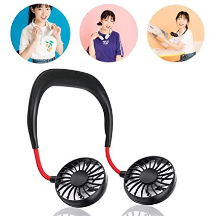 LED Light USB Rechargeable Neckband Dual Cooling Fan Lazy Neck Hanging Style Fan