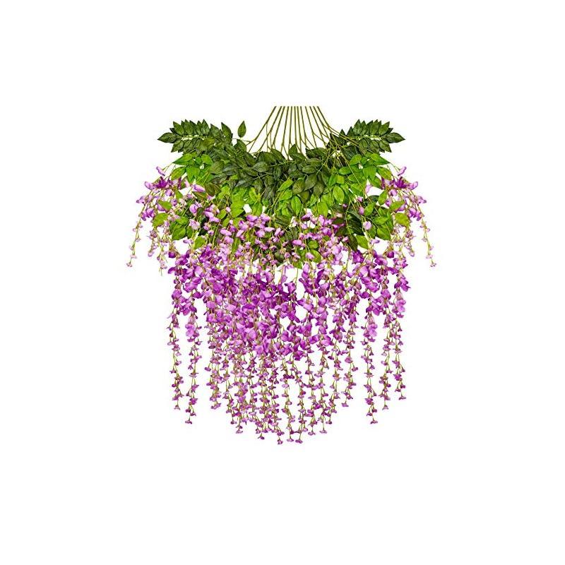 silk flower arrangements ivyue 12 pack 3.6 feet artificial fake wisteria vine rattan hanging garland wisteria silk flowers for home garden party wedding decoration purple