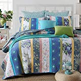 Blue Vintage Floral Bedding Set Luxury Comforter Set Lightweight Bedspreads Queen Size - Brandream
