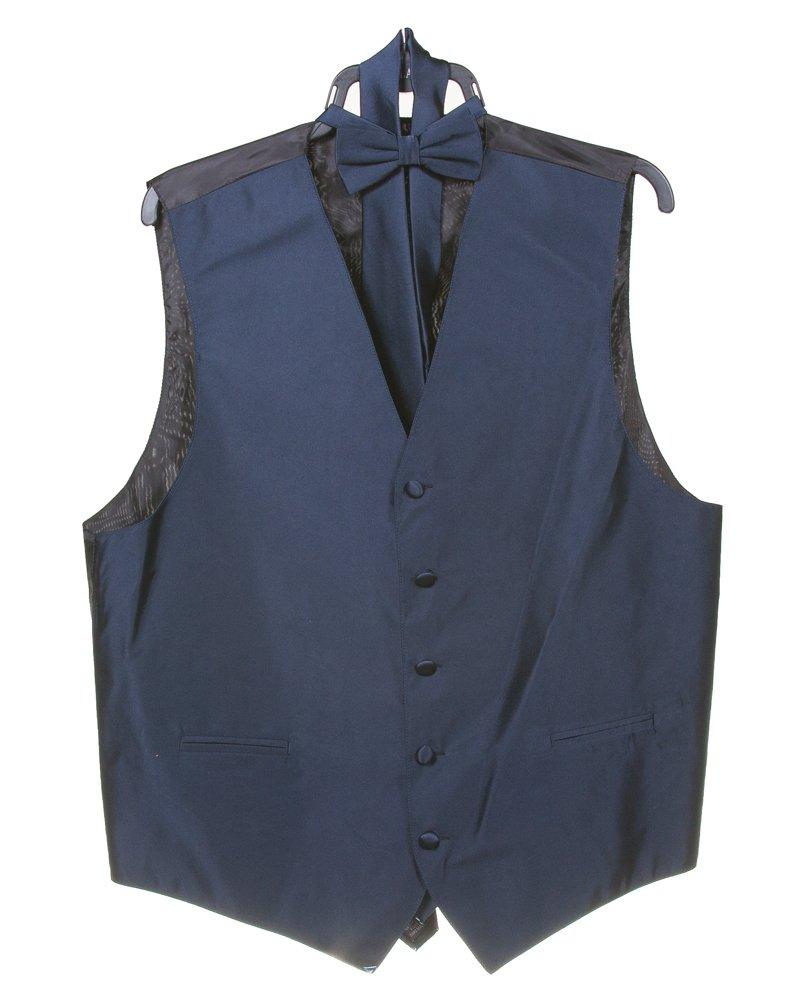 Men's Solid 4pc Dress Formal Vest Set (Vest, Bow Tie, Necktie, Hanky Set)Size L Navy
