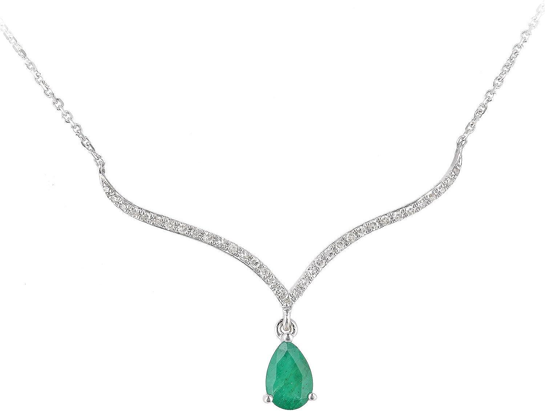 Naava - Collar con colgante de oro blanco 9 k con diamantes y gema corte lagrima, 40 cm
