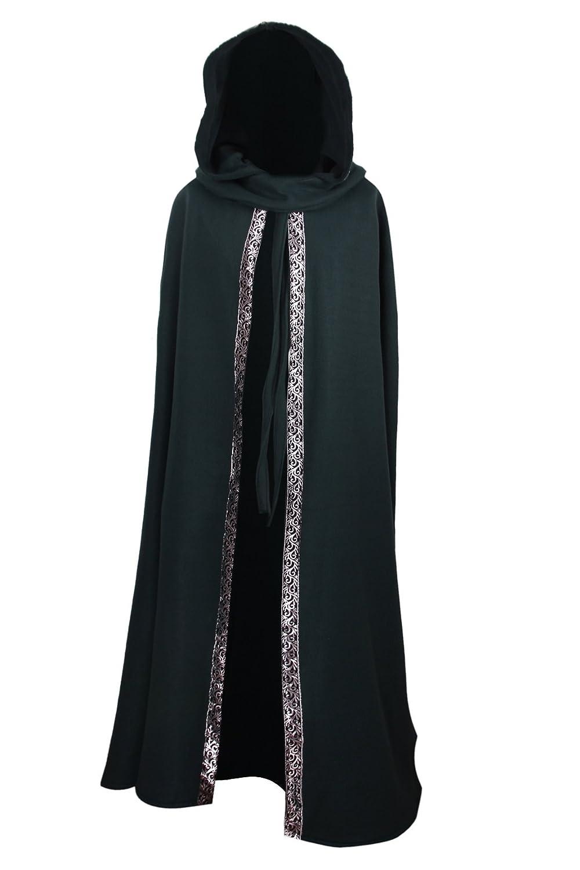 Mittelalterlicher Fleece Umhang mit Borte - wärmend - grün L140