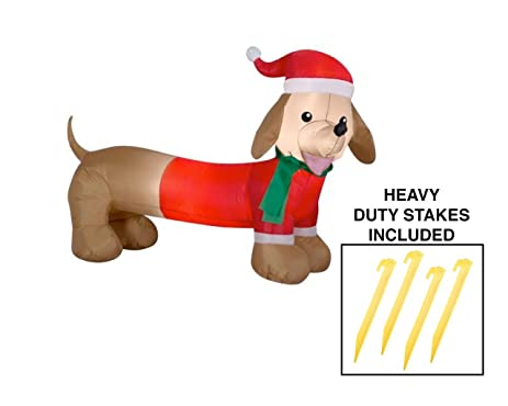 dachshund christmas decoration inflatable outdoor yard dog santa 4 feet