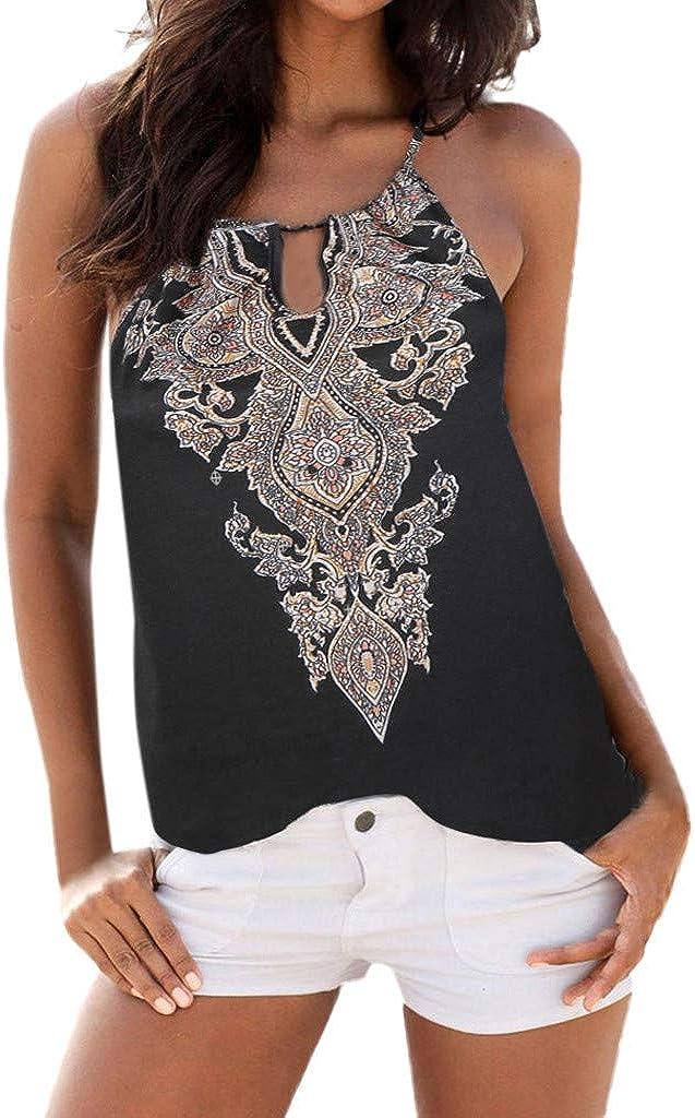 TIFENNY Women Halter Neck Print Sleeveless Casual Mini Beachwear Dress Sundress Summer Fashion Loose Mini Dress