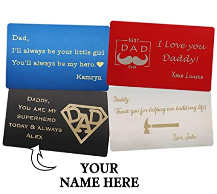 Personalized Wallet Card For Dad Engraved Insert