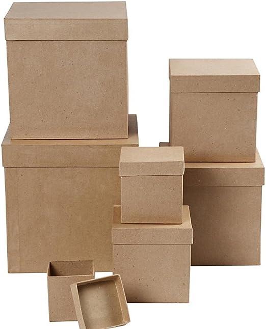 Set de 7 juego de caja de Nesting cuadrado de papel maché para ...