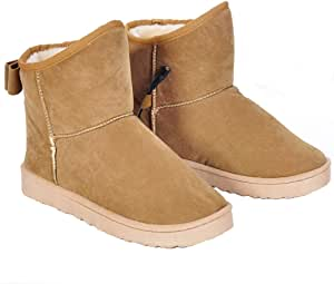 USB Heating Foot Warmer Boots with Bowknot Soft Plush Warm Cold Weather Shoes, Khaki 11 inches