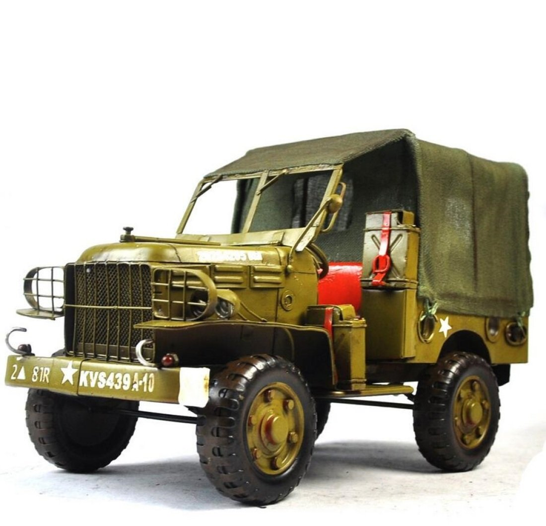 GL&G Manual Retro Iron art Car model metal Crafts green Military car Home Decorations office bar Cafe Tabletop Scenes Ornaments Collectible Vehicles High-end gift,341720cm
