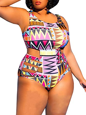 d734c6a6ab0e2 Flawerwumen Womens One Piece High Waist Plus Size Swimsuits Sexy Tummy  Control Bandage Swimwear at Amazon Women's Clothing store: