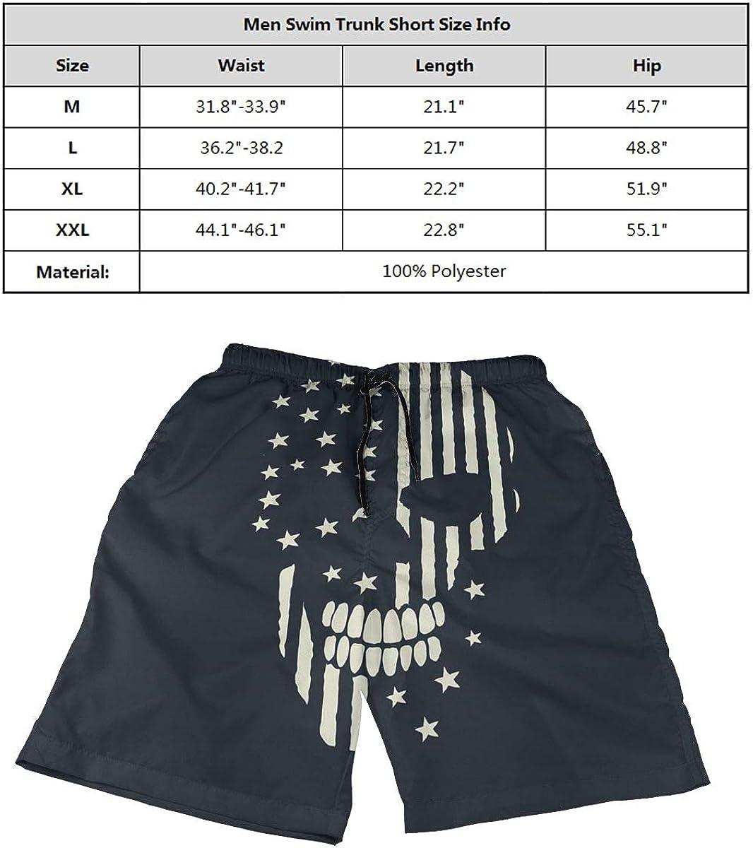 Ling Lake Skull Made The American Flag Mens Beach Shorts Board Shorts Summer Swim Trunks