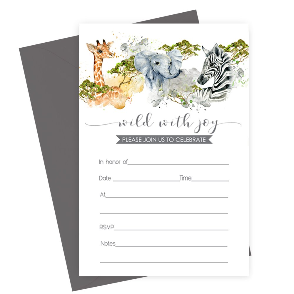 Jungle Animal Invitations (Fill In) Set of 15 with Gray Envelopes