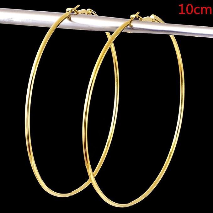 Charm Women/'s Girls Gold Silver Metal Smooth Big Large Hoop Earrings 8CM 10CM