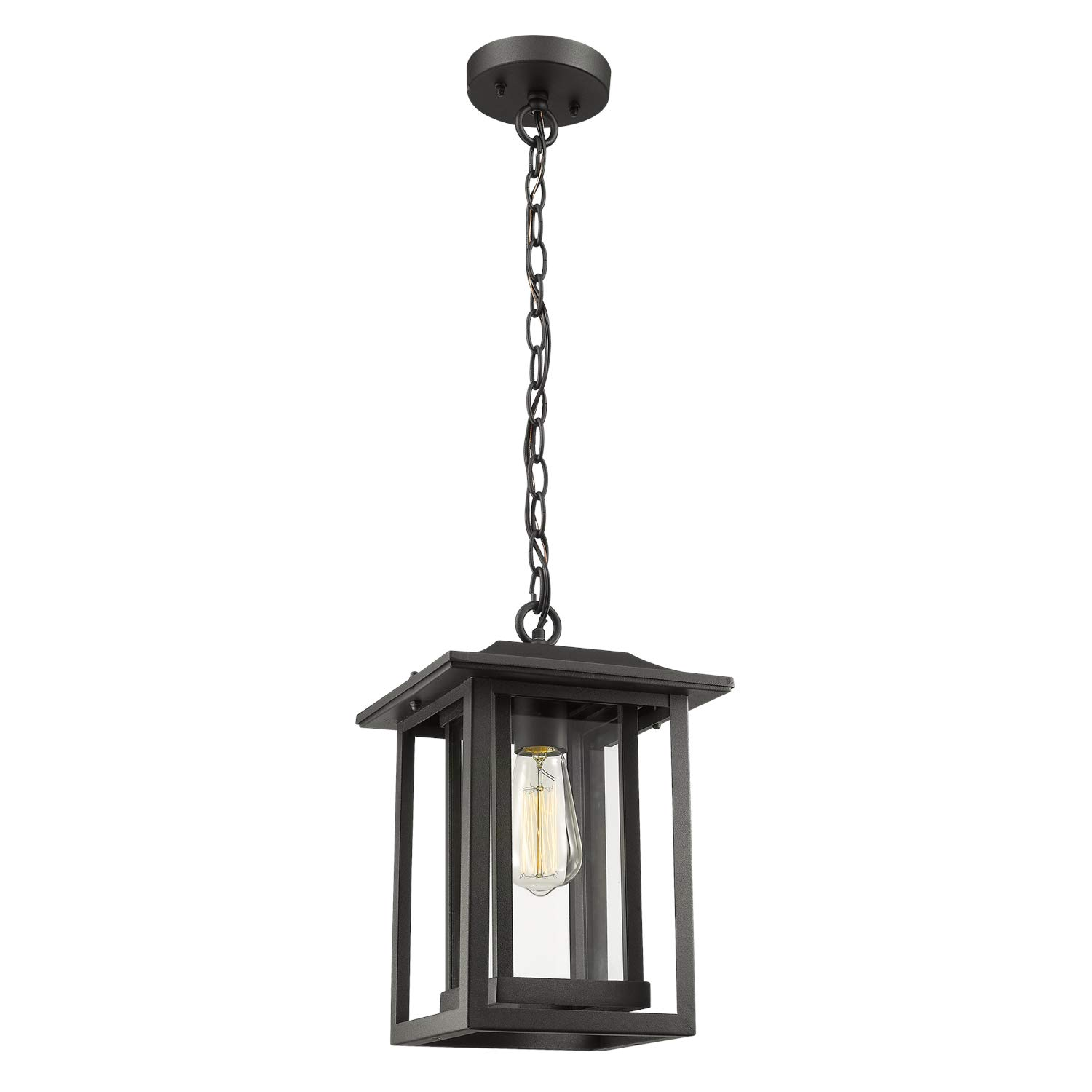 Outdoor Pendant Light Beionxii Large Exterior Hanging Lantern Matte Black with Clear Glass Panel Shade, Pendant Chain Adjustable
