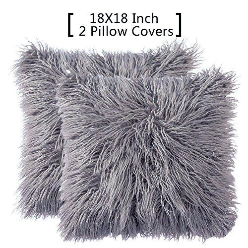 FURTALK Faux Fur Throw Pillows Covers Decorative Grey Pillow