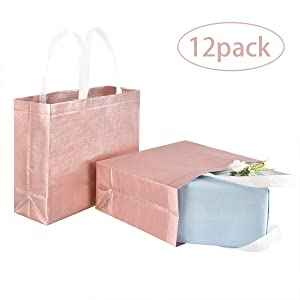 Set of 12 Stylish Reusable Shopping Bag, Glossy Glitter Reusable Grocery Bag with Handle, Non-Woven Fashionable Tote Bag, Gift Tote Bags for Women Groceries Wedding bridesmaid Birthday Party
