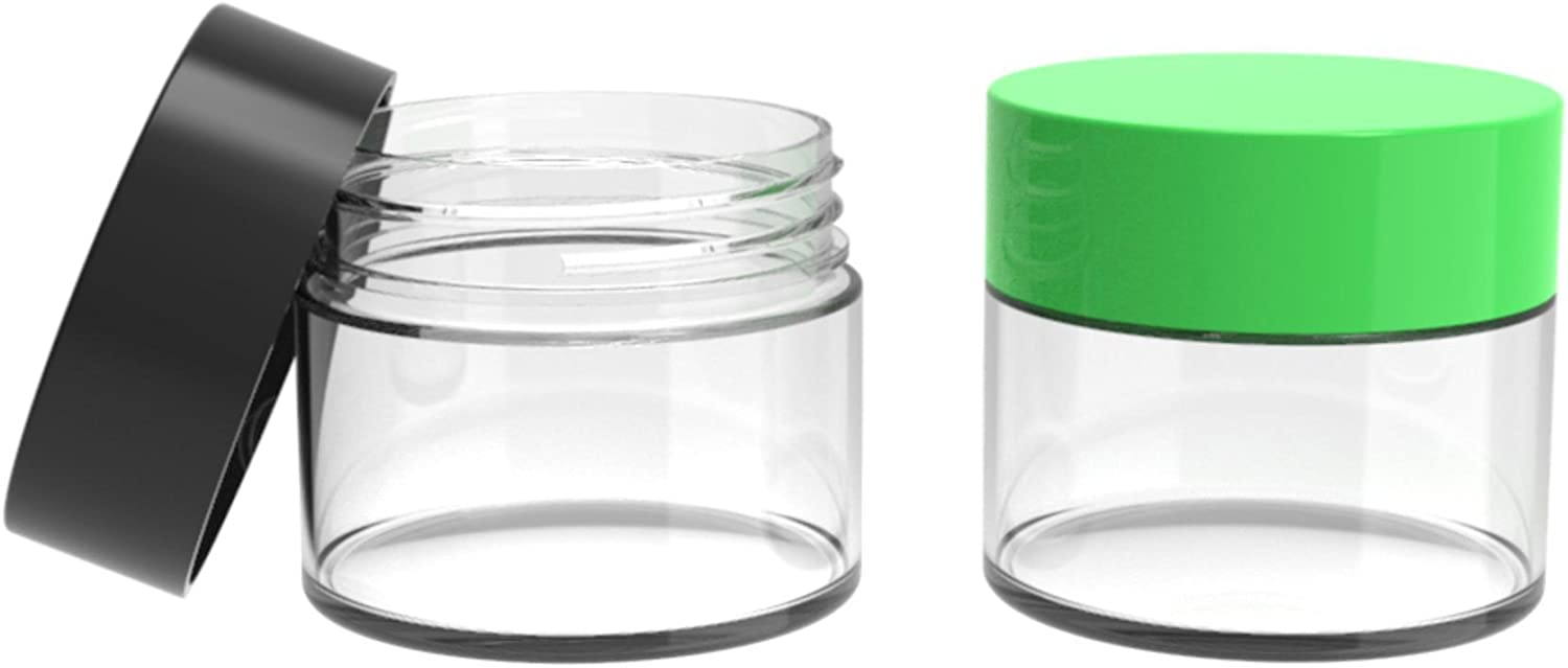Clear 6 oz Plastic Storage Jars Hobby Craft Blue Pink Green Color Lids *QTY 3