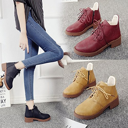 Fashionable Fashion All Match Short Boots with Thick round with a Single Shoes , wine red , EUR35