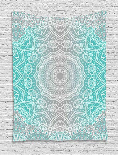Ambesonne Grey and Turquoise Tapestry, Primitive Ancient Essence and Universe Harmony Mandala Ombre Art, Wall Hanging for Bedroom Living Room Dorm, 40 W X 60 L Inches, Blue Yellow