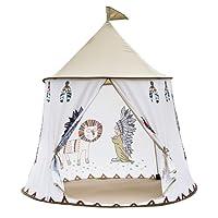 XYTENT Tente de jeu pour enfants avec motif gourou tribal indien. Montage facile. Château tipi en tissu effet peau de pêche avec motif tribal indien. Maison de jeu, jouet pour utilisation intérieure et extérieure - 104,1cm (D) x 129,5cm (H)