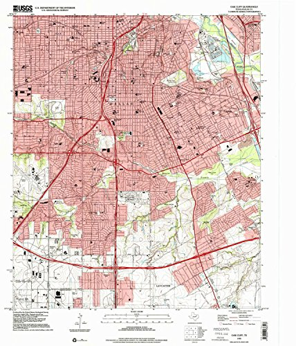 Oak Cliff TX topo map, 1:24000 scale, 7.5 X 7.5 Minute, Historical, 1995, updated 2001, 26.9 x 23 IN - - Plaza Kings Map
