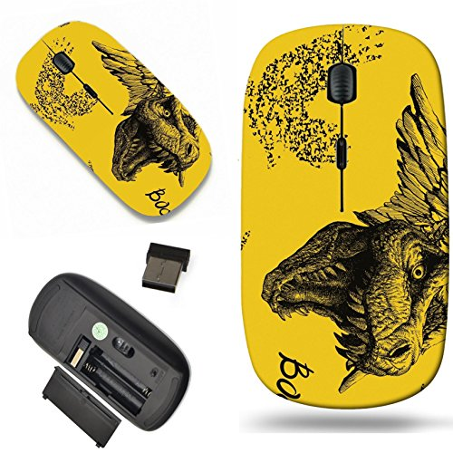 Luxlady Wireless Mouse Travel 2.4G Wireless Mice with USB Receiver, 1000 DPI for notebook, pc, laptop, mac design IMAGE ID: 42024477 Trex Dinosaur halloween background Vector seamless background