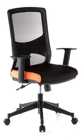 hjh OFFICE LAVITA Silla de Oficina, Negro y Naranja, 70 x 29.6 x 61 cm