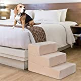 Nova Microdermabrasion Pet Dog Stairs Steps for High Beds Small Dogs with Washable Cover High Density Foam