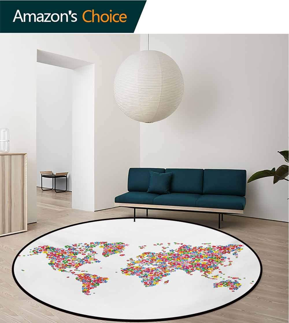 Floral World Map Modern Machine Washable Round Bath Mat,Floral Planet Earth with Blossoms Wreath Botany Bouquet Lively Eco Design Non-Slip Living Room Soft Floor Mat,Diameter-51 Inch
