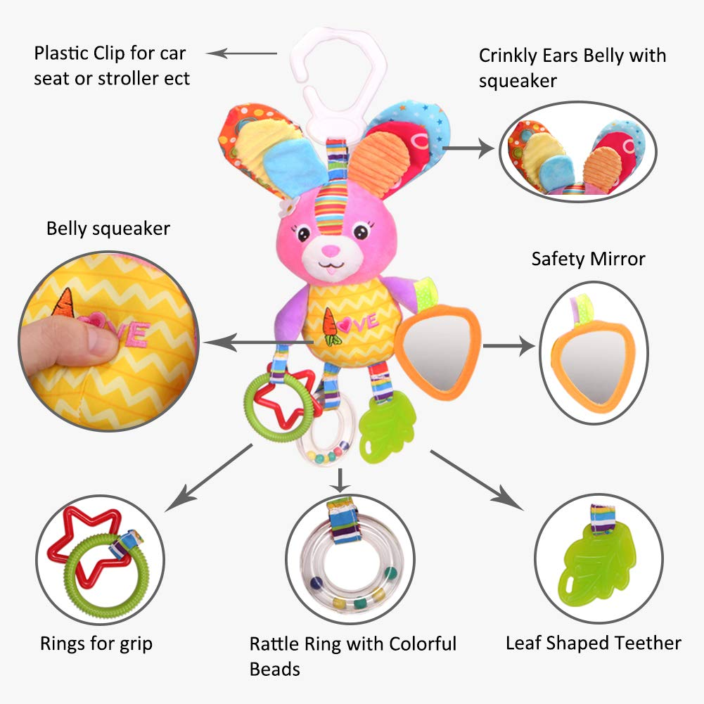 Dmeixs Hanging Stroller Toys, Infant Teether Toys Squeaker Crinkly Ear,Baby Stroller Toys Colorful Car Seat Rattle Toys,Rabbit Toys Stroller,Car Seat,Infant Bed by Dmeixs (Image #3)