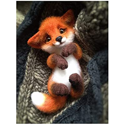 WellieSTR Wool Felt Fox Hand Made DIY Material Package Felt Animal Foxes Animals Kits Fox: Everything Else