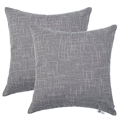 Kevin Textile Faux Linen Square 2 Tone Woven Fine Throw Pillow Sham Cushion Case Covers for Car/Couch Use, 18-inch(2 Packs, Grey)