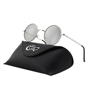 ec2fe57c9788f5 CGID E01 lunettes de soleil polarisées inspirées du style retro vintage  Lennon en cercle métallique rond