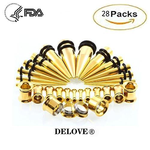 DELOVE 28pcs Kit de expansión de oreja de acero inoxidable ...