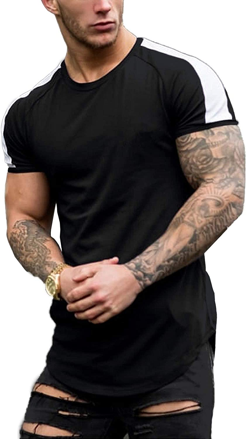 COOFANDY Men's Short Sleeve Muscle T-Shirt Workout Tee Casual Slim Fit Longline Tshirts