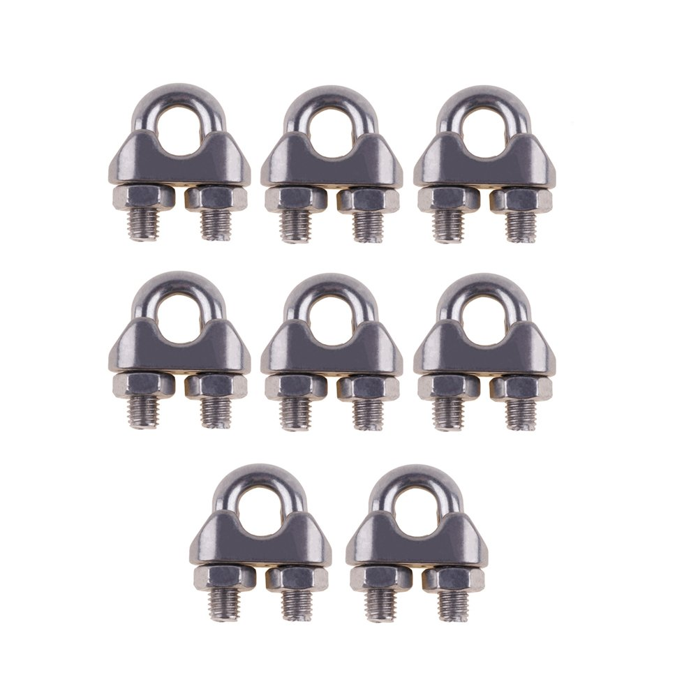 "Eowpower 8PCS Stainless Steel 5/16"" M8 Wire Rope Cable Clip Clamp hot sale"