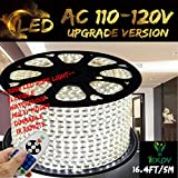IEKOV White Color LED Strip Light, trade; AC 110-120V Flexible/Waterproof/Multi-Modes function/Dimmable SMD5050 LED Rope Light with Remote for Home/Office/Building Decoration (16.4ft/5m)