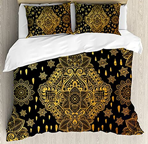 Gold Mandala King Size Duvet Cover Set by Ambesonne, Bohemian Paisley Ornament Folk Henna Tattoo Style Indian Tribal Vintage, Decorative 3 Piece Bedding Set with 2 Pillow Shams, Gold and (Indian Gold Ornaments)