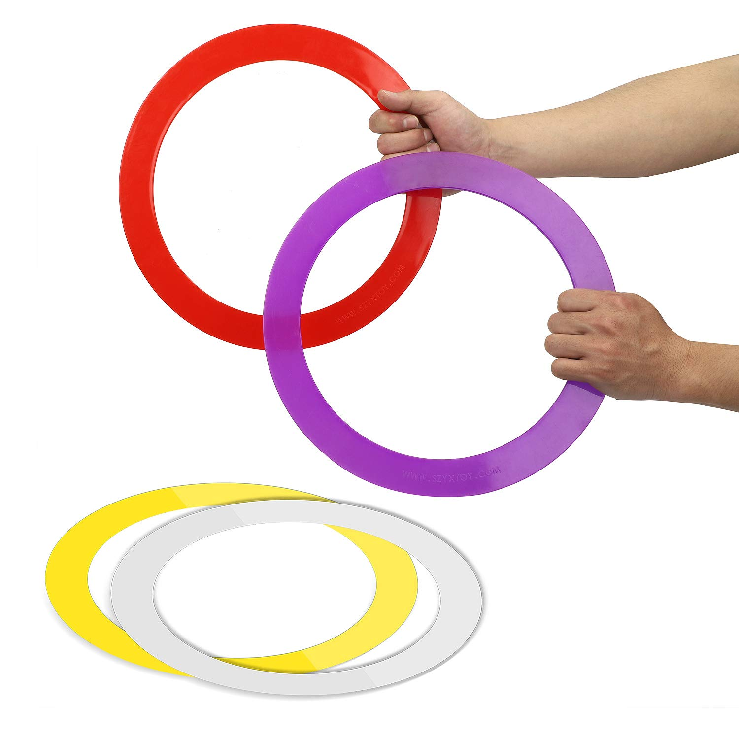 YuXing Juggling Rings (12.6'' 4.0 Ounce) Set of 4 for Beginners and Professionals, Red Yellow White Purple by YuXing TOY