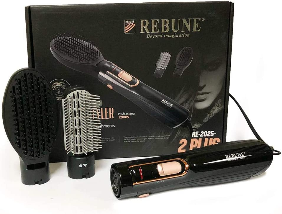 Hair Styler with 2 Attachments RE-2025-2 by REBUNE - 1200 W