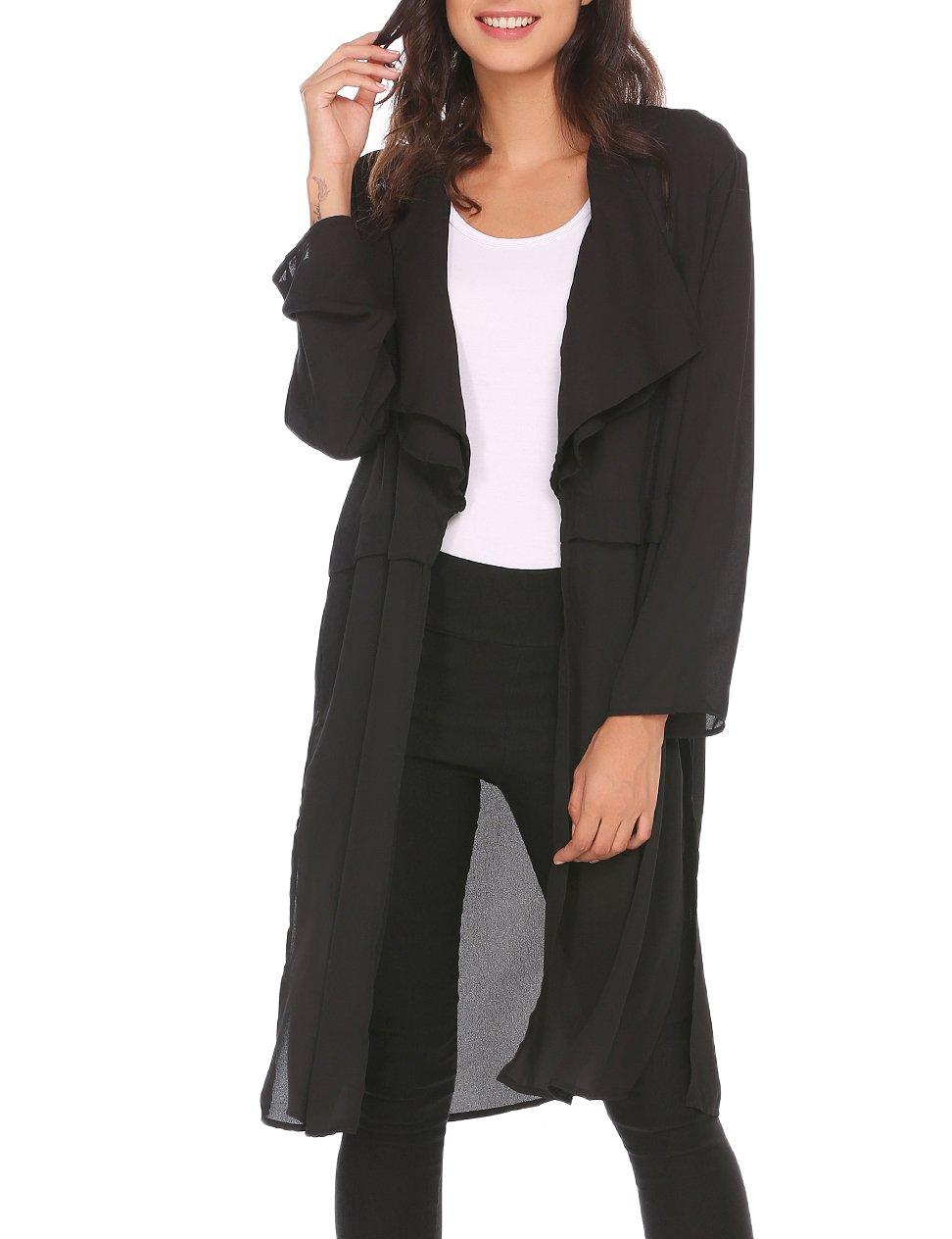 SE MIU Women Chiffon Long Cardigan Beach Cover Up Loose Tops Outwear
