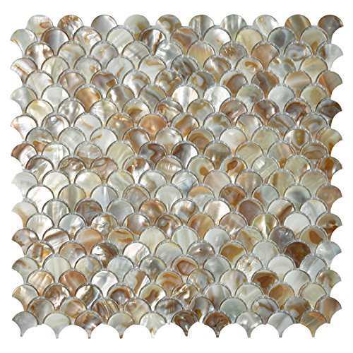 Cheap  Art3d Mother of Pearl Colorful Bathroom Wall Panels Fan Shaped Fish Scale..