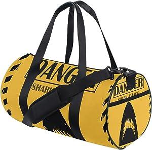 MIFSOIAVV Travel Duffel Bag Shark Sighting Sign Yellow Danger Attack Sports Lightweight Canvas Gym Luggage Handbag Overnight Weekend Bag for Men Women