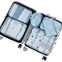 PROMUN Travel Packing Cubes, 6 Set Luggage Organizer with Laundry Bag, Compression Pouches, Waterproof, Rip Resistance(Blue)