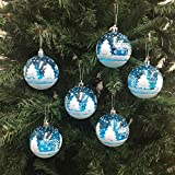 PEPPERLONELY 6PC/Pack Shatterproof Christmas Ball Ornaments 70mm (2-3/4 Inch) - Blue/White Snow