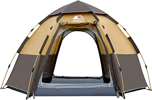 Hewolf Waterproof Instant Camping Tent – 2-3 Person Easy Quick Setup Dome Family Tents for Camping,Flysheet Can be Used as Pop up Sun Shade