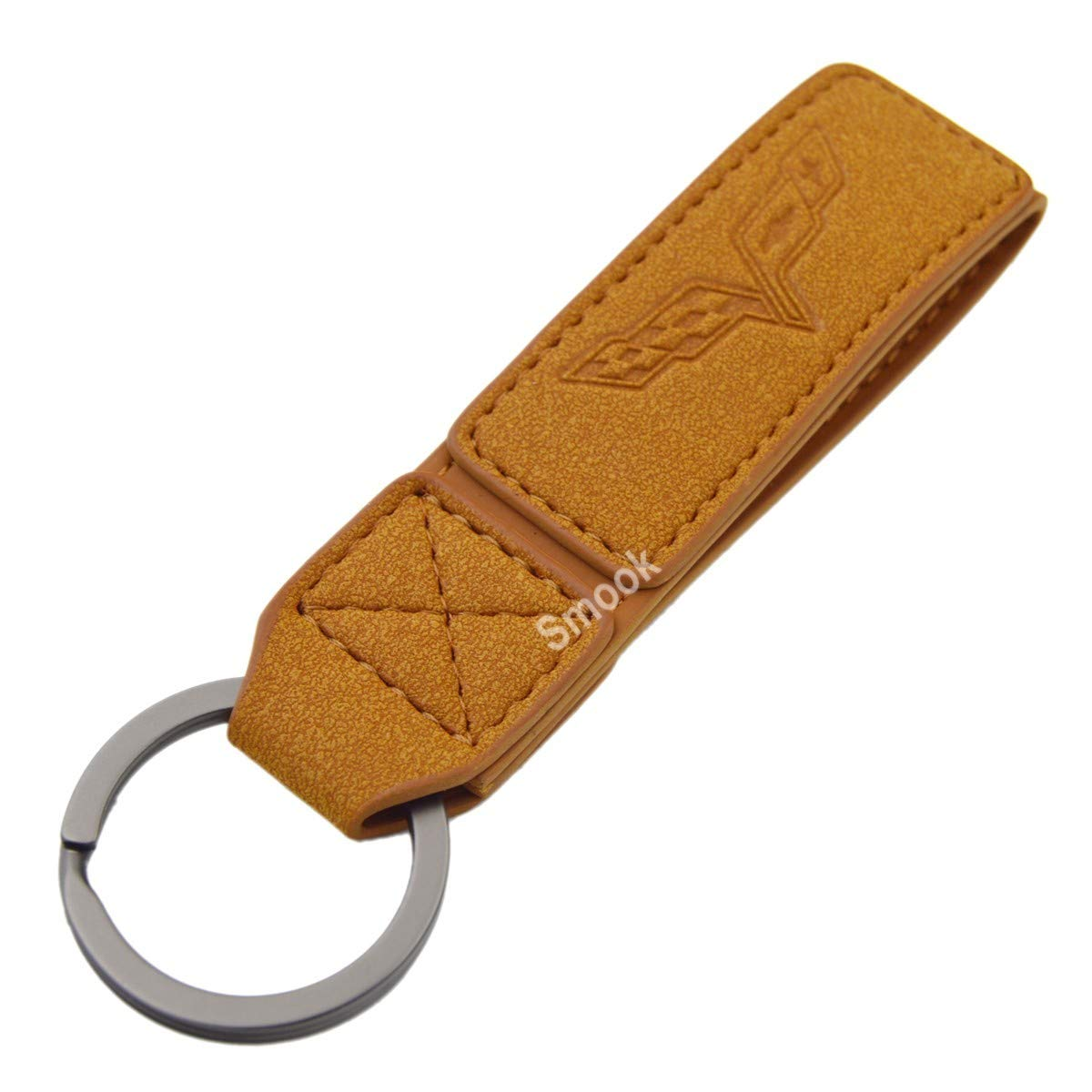 Luxury 2 Layer Real Leather Key Chain Ring for Corvette Stingray z06 zr1 c8 c6 c3